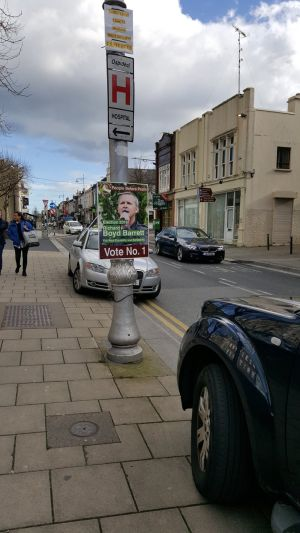 Richard Boyd Barrett poster in Dun Laoghaire. Photograph: Patsy McGarry