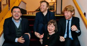 Anne Clarke of Landmark Productions, who won the special tribute award at the Irish Times Irish Theatre Awards, is pictured with (from left) Laurence Kinlan, the best supporting actor, Brian Gleeson and Domhnall Gleeson. Photograph: Aidan Crawley