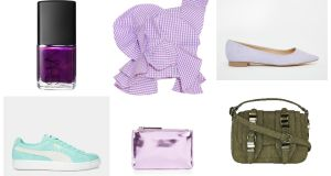 Nars Purple Rain €19 at Brown Thomas; Johanna Ortiz ruffle top, €840 at net-a-porter; Asos ballet flats, €16.90; Puma trainers, €73; New Look 