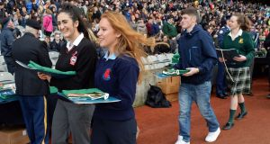 Bridget McDyer, of Rosses Community School, Dungloe, and Ellie McDonnell, of St Columba's, Glenties, both Co Donegal, at the flags ceremony in Croke Park yesterday. Photograph: Eric Luke/The Irish Times