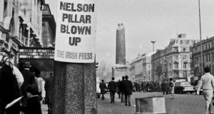 Life goes on after Nelson's Pillar is bombed on Dublin's O'Connell Street