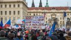 "An anti-refugee  rally in Prague:  to cheers from the crowd, Czech president Milos Zeman  denounced members of Prague's liberal elite ""who assume the right to tell us what values we should be upholding"". Photograph: Filip Singer/EPA"