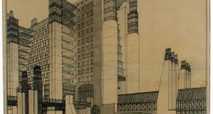 Antonio Sant'Elia's design for a tenement building with exterior elevators and sheltered galleries