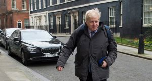 Mayor of London Boris Johnson leaves a cabinet meeting at 10 Downing Street on Tuesday. He had earlier rescinded a call for senior staff in his office to back the his call for Britain to leave the EU or remain silent. Photograph: Will Oliver/EPA