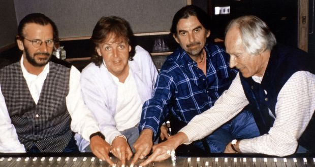 Ringo Starr Paul McCartney George Harrison And Producer Martin During Recording Of A