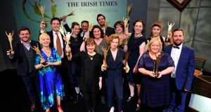 The winners at the Irish Times Irish Theatre Awards 2015 in The National Concert Hall, Dublin. Photograph: Aidan Crawley