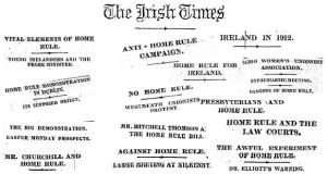 A collection of headlines about Home Rule from The Irish Times
