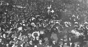 Crowds welcoming the arrival in Dublin on July 19th, 1912, of the then-British prime minister Herbert Henry Asquith