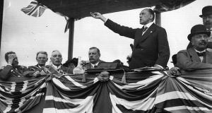 Ulster says no: Edward Carson addresses a unionist demonstration.