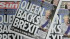 The Sun newspaper published a story indicating that Queen Elizabeth II was backing a British exit from the EU on its front page. Photograph: Andy Rain/EPA