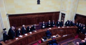 Supreme Court judges, with the presidents of the High Court  and the  Court of Appeal, during a sitting to commemorate the late Mr Justice Adrian Hardiman at the Supreme Court, Dublin. Photograph: Collins Courts