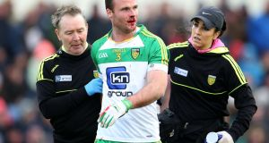 Neil McGee of Donegal picks up a blood injury. Photo: Cathal Noonan/Inpho