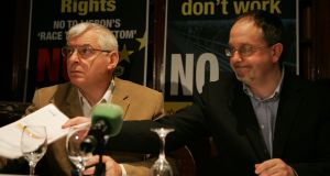 Joe Higgins with AAA/People Before Profit TD Mick Barry. Photograph: Cyril Byrne/The Irish Times