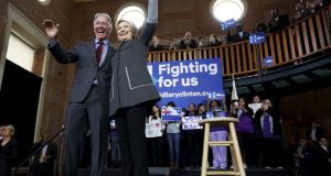 U.S. Democratic presidential candidate Hillary Clinton and US Representative Richard Neal  rally with supporters at Wood Museum of Springfield History in Springfield, Massachusetts. Photograph: Jonathan Ernst/Reuters
