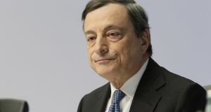 Mario Draghi, president of the European Central Bank (ECB), pauses during a news conference to announce the bank's interest rate decision at the ECB headquarters in Frankfurt, Germany, on Thursday. Photograph: Martin Leissl/Bloomberg