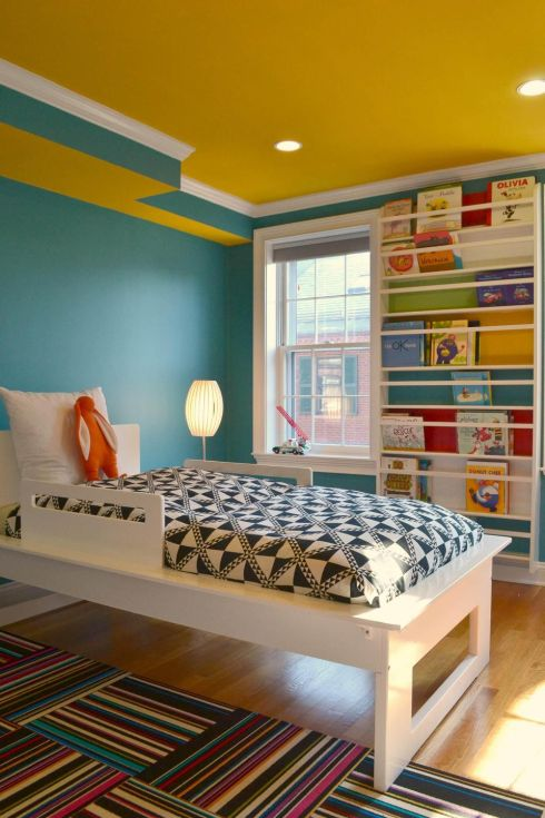 Colour Theory Boston Created A Bedroom For Little Boy Who Had Lot Of Books