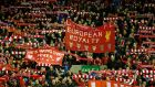 Liverpool fans at Anfield on Thursday. Photograph: Reuters
