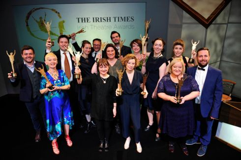 Winners (back row):Laurence Kinlan (best supporting actor), Fergus Shiel (best opera), Sarah Bacon (best set design), Francis O'Connor (best costume design), Sarah Lynch (best production), Marty Rea (best actor), Sarah Jane Shiels (best lighting), Derbhle Crotty (best actress), Lian Bell (judge<NO1>'<NO>s' special award). Front row: Doreen McKenna (best costume design), Anne Clarke (special tribute award and best opera), Stacey Gregg (best new play), Louise Lowe (audience award) and Owen Boss (audience award). Not in photograph: Jimmy Eadie (best sound), Garry Hynes (best director) and Abigail McGibbon (best supporting actress). 