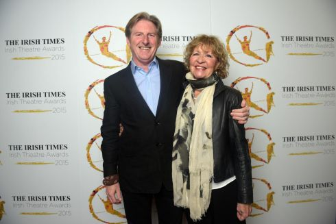 Nominee Adrian Dunbar and his wife, Anna Nygh. Photograph: Bryan Meade