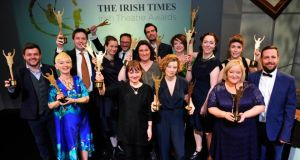Winners (back row): Laurence Kinlan (best supporting actor), Fergus Shiel (best opera), Sarah Bacon (best set design), Francis O'Connor (best costume design), Sarah Lynch (best production), Marty Rea (best actor), Sarah Jane Shiels (best lighting), Derbhle Crotty (best actress), Lian Bell (judges' special award). Front row: Doreen McKenna (best costume design), Anne Clarke (special tribute award and best opera), Stacey Gregg (best new play), Louise Lowe (audience award) and Owen Boss (audience award). Not in photograph: Jimmy Eadie (best sound), Garry Hynes (best director) and Abigail McGibbon (best supporting actress). Photograph: Aidan Crawley