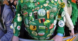 Badges of pride: at  the New York St Patrick's Day Parade. Photograph: Timothy A Clary/AFP/Getty Images