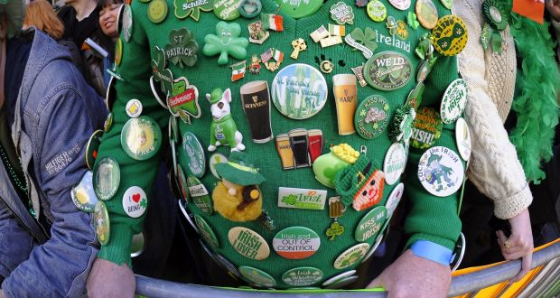 f1f55a55b55 Badges of pride: at the New York St Patrick's Day Parade. Photograph:  Timothy