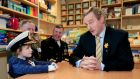 At the Tallaght Hospital School at the delivery of the last flag in the Flags for Schools Initiative  were  Izzie Swail (5), of  Wicklow, with acting Taoiseach  Enda Kenny. Also present are Brigadier-General Nick Berry, General Officer Commanding 2nd Battalion,  and Chief of Staff of the Defence Forces,  Vice-Admiral Mark Mellett (centre). Photograph: Maxwells