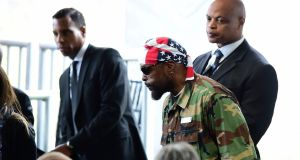 Actor Mr T arrives for the funeral service of  former US first lady Nancy Reagan in California. Photograph: Frederic J Brown/AFP/Getty Images