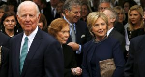 Former secretary of state James Baker with former first ladies Rosalynn Carter and Hillary Clinton  at Nancy Reagan's funeral in California. Photograph: Mike Blake/Reuters