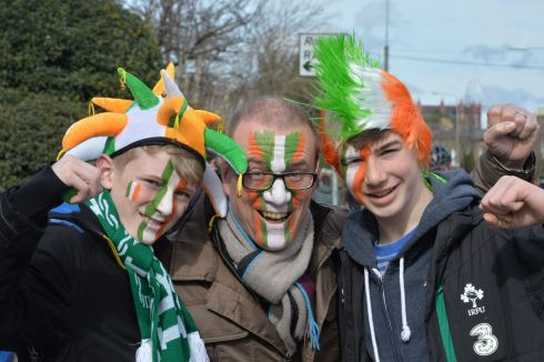 Alex Edwin and Tom Backler, from Edinburgh, before the Six Nations match between Ireland and Italy.   Photograph: Alan Betson/The Irish Times