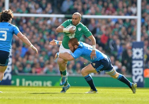 Simon Zebo is tackled by Italy's  Gonzalo Garcia.  Photograph: Alan Betson/The Irish Times
