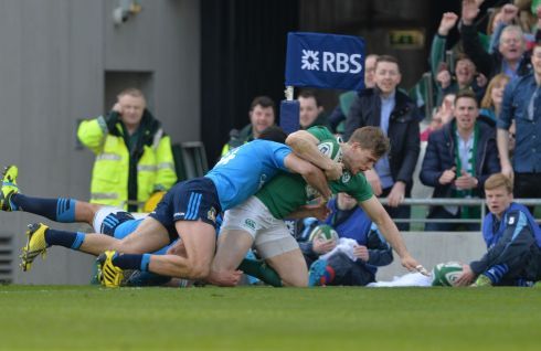 Andrew Trimble scores the opening try for Ireland. Photograph: Alan Betson / The Irish Times