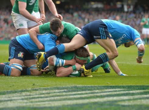 CJ Stander scores his first international try for Ireland. Photograph: Alan Betson/The Irish Times