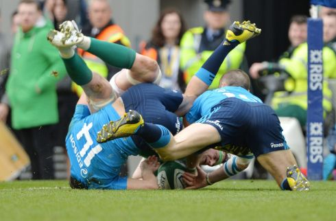 Jamie Heaslip scores a try late in the first half. Photograph: Alan Betson / The Irish Times