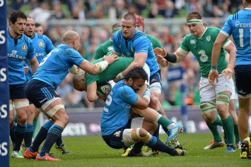 Simon Zebo is tackled during the Six Nations match between Ireland and Italy at the Aviva Stadium.   Photograph: Alan Betson/The Irish Times
