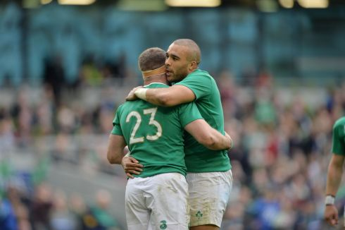 Ireland's Fergus McFadden is congratulated by Simon Zebo after scoring a try. Photograph: Alan Betson/The Irish Times