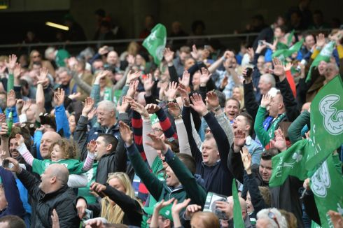 Irish rugby fans get a Mexican wave going. Photograph: Alan Betson/The Irish Times