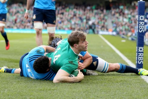 Andrew Trimble gets over for Ireland's first try. Photograph: Dan Sheridan/Inpho
