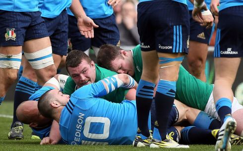 Jack McGrath scores Ireland's second try.  Photograph: Paul Faith/AFP/Getty Images