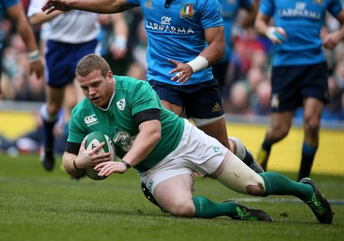 Seán Cronin scores Ireland's  seventh try. Photograph: Niall Carson/PA