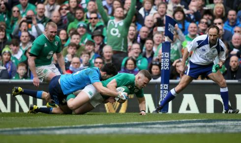 Ian Madigan  makes it eight. Photograph: Niall Carson/PA