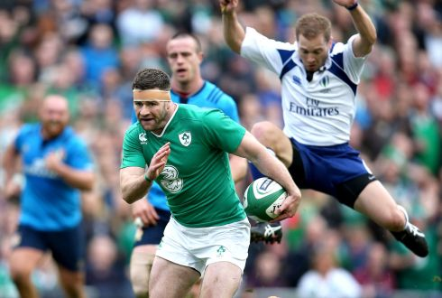 Fergus McFadden caps Ireland's day with a ninth try. Photograph:  Dan Sheridan/Inpho