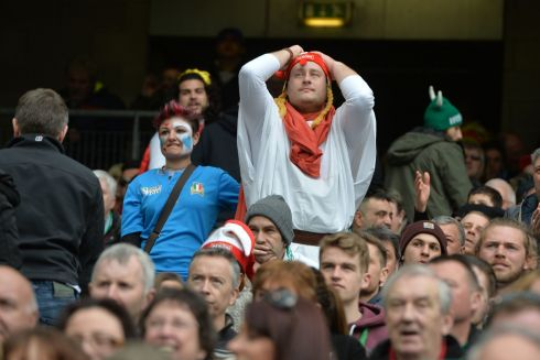 Italian fans at the end of the Six Nations match . Photograph: Alan Betson/The Irish Times
