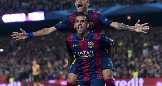 30d9d7b68df Barcelona s Brazilian duo of Dani Alves and Neymar da Silva Santos Junior  at the Camp Nou