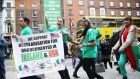 People gather in Dublin's city centre for a street party in support of the undocumented migrants in Ireland and the US held by Migrant Rights Centre Ireland. Photograph: Brian Lawless/PA Wire