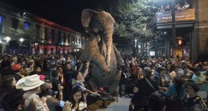 Macnas presents its pop-up theatre spectacle on 6th Street in Austin, Texas sponsored by IDA Ireland during SXSW
