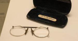 Reading glasses which belonged to Patrick Pearse, on show at the Proclaiming a Republic 1916 exhibition at Collins Barracks in Dublin. Photograph: Dave Meehan/The Irish Times