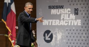 "US president Barack Obama  at the South by Southwest (SXSW) Interactive festival: ""I don't recall the phrase being, 'Yes I Can'. It's 'Yes We Can'.""  Photograph: David Paul Morris/Bloomberg"