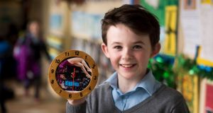 Cian Burke of Doolin National School, Co Clare, which came up with the idea for customised clocks. Photograph: Jerry Kennelly