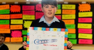 Ryan Murphy of Carracastle National School, Co Mayo, which came up with the idea for Carracastle – The Board Game. Photograph: Jerry Kennelly